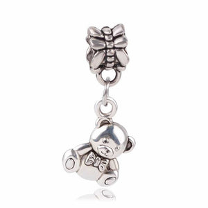 European Crown Pendant With Blue Crystal Silver Alloy Beads Charms Fit Pandora Bracelets
