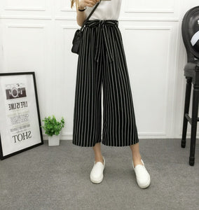 ZADORIN 2018 Fashion Summer Wide Leg Pants Women High Waist Plaid Striped Loose Palazzo Pants Elegant Office Ladies Trousers