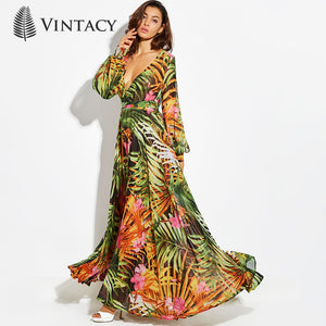 Vintacy Long Sleeve Dress Green Tropical Beach Vintage Maxi Dresses Boho Casual V Neck Belt Lace Up Tunic Draped Plus Size Dress