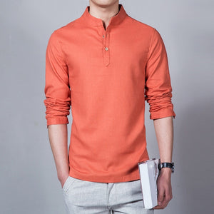 Mens Slim Fit Long Sleeve Mandarin Collared Casual Linen Shirt