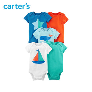 5pcs Cotton sweet sailboat star whale prints Bodysuits Sets Carter's baby Boy Summer Short-Sleeve clothings 126H323