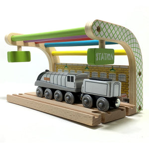 Multicolored Double track station and spencer wooden train compatible with Thomas and Brio Wooden train track