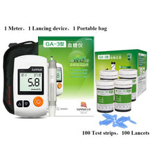 English Guide Sinocare GA-3 Blood Glucose Meter & Test Strips &Lancets Glm Medical Blood Sugar Meter Glucometer Diabetes Tester