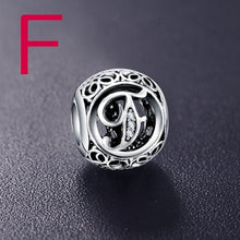 925 Sterling Silver Vintage Clear Letter Bead Charms Fit Pandora Women Charm Bracelets Silver Jewelry