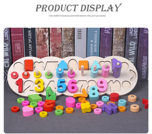 Children Wooden Montessori Materials Learning To Count Numbers Matching Digital Shape Match Early Education Teaching Math Toys
