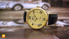 XO Retro  Certified 1955 Porsche 550 Spyder DNA - Yellow Gold Tone Dial Black Strap