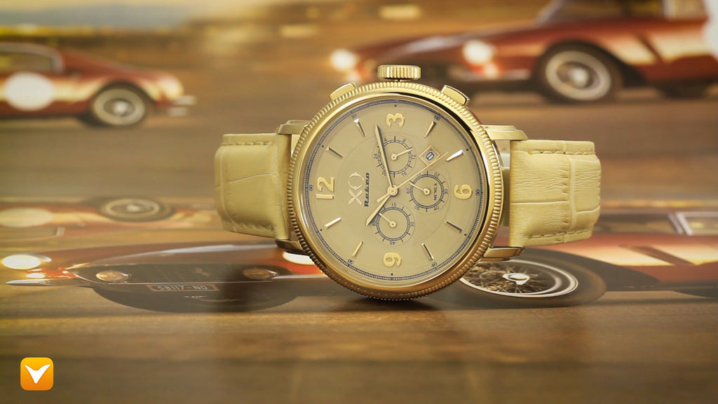 XO Retro  Certified 1960 Ferrari 250GT DNA - Yellow Gold Tone Dial Tan Strap