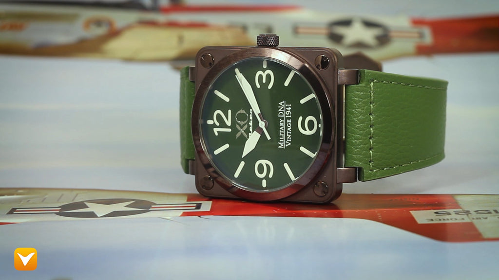 XO Retro  Certified 1941 P-51 Mustang DNA - Square Collection Green Dial