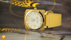 XO Retro  Certified 1941 P-51 Mustang DNA - Square Collection Yellow Gold Tone White Dial