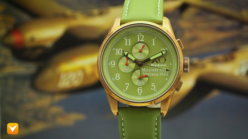 XO Retro  Certified 1943 P-38 Lightning Plane DNA Rose Gold Green Strap