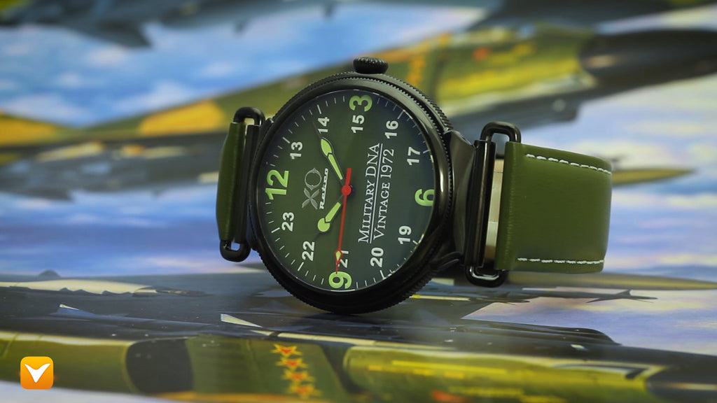 F4 Phantom 1972 Air Force Military DNA  Watch Black IP Green Dial Green Strap 01A