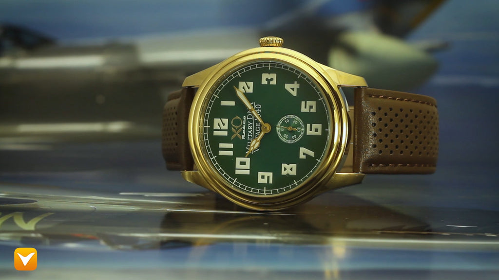 XO Retro  Certified 1940 Supermarine Spitfire DNA Gold Green Dial