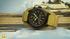 XO Retro  Certified 1991 M1 Abrams Military Tank DNA - Triple Date - Black Dial Tan Strap