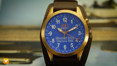 XO Retro  Certified 1991 M1 Abrams Military Tank DNA - Triple Date - Rose Gold Blue Dial Brown Strap
