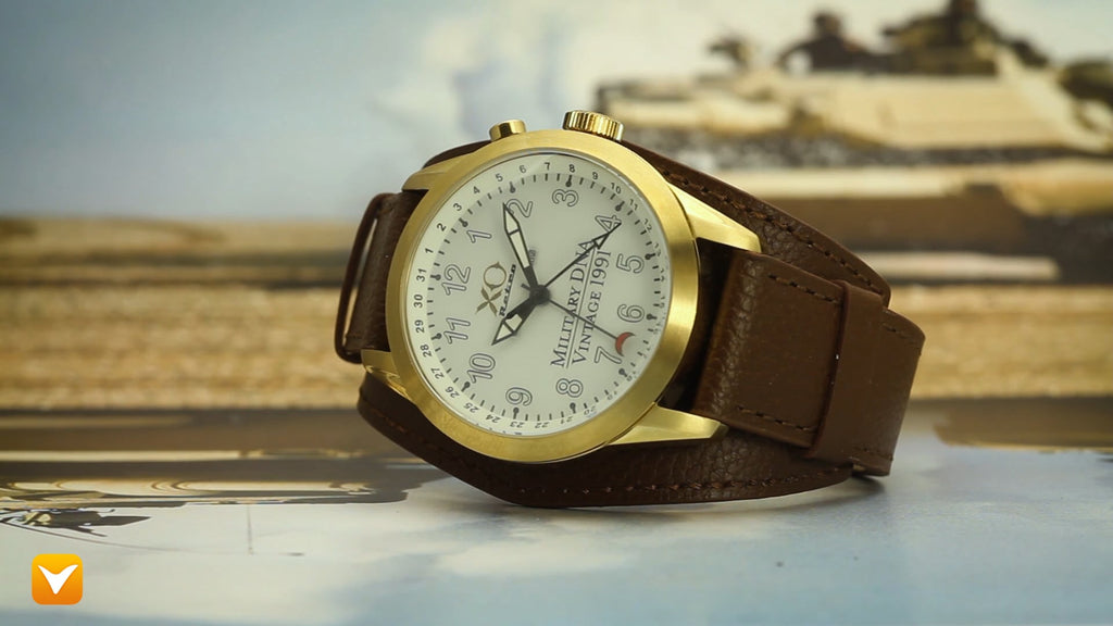 XO Retro  Certified 1991 M1 Abrams Military Tank DNA - Triple Date - Gold Tone White Dial Brown Strap