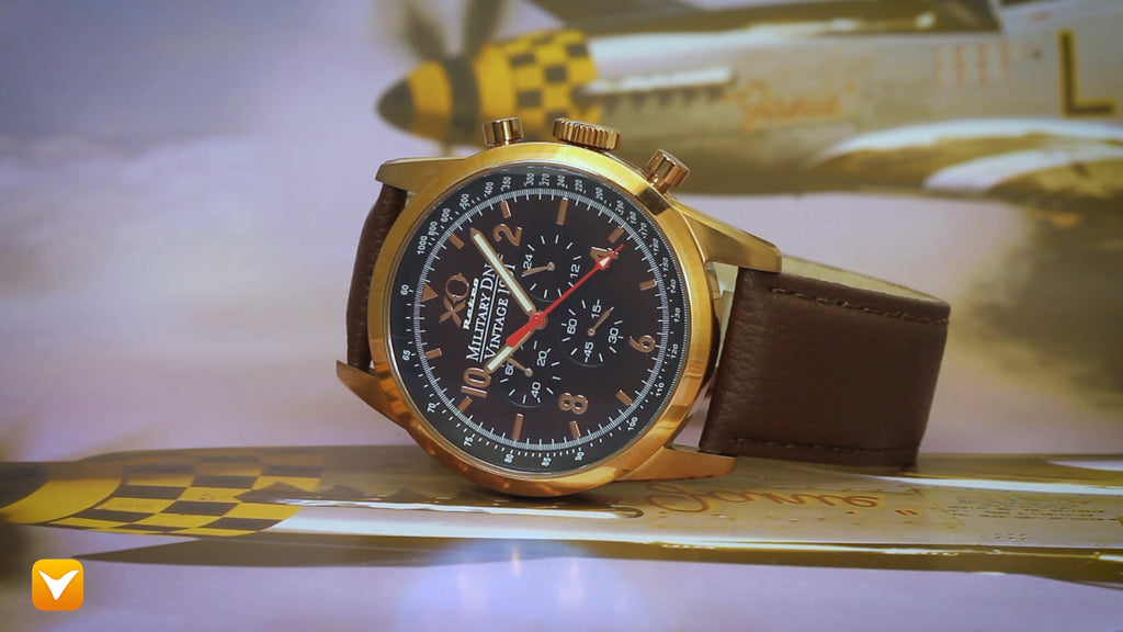 XO Retro  Certified 1991 A-10 Warthog Fighter DNA - Rose Gold Brown Strap