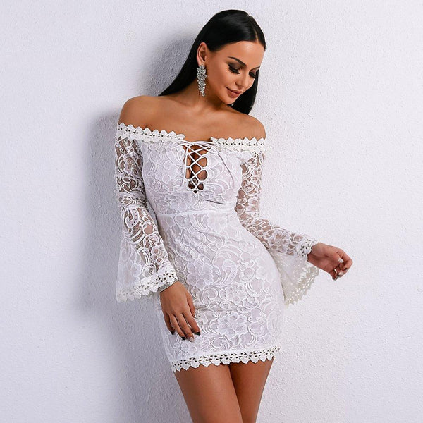Women 2019 Sexy Lace Dresses Mini White Body-con Dress