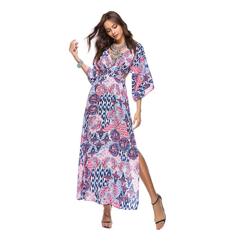 Women Beach Dress Batwing Sleeve High Waist Dress