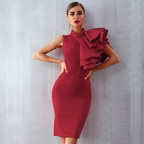 FREE shipping Sleeveless One-Shouldered Cocktail Dress