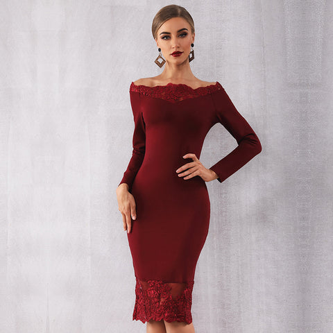 New Party Dress Vestidos Off Shoulder Laciness Mini Dress