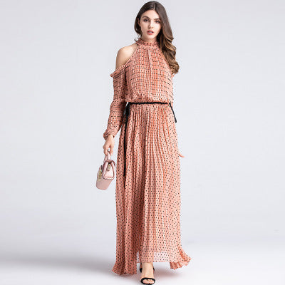 Women Long Dresses Plicated Spots Printed Off Shoulder Dress