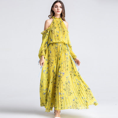 Women Long Dresses Plicated Off The Shoulder Dress