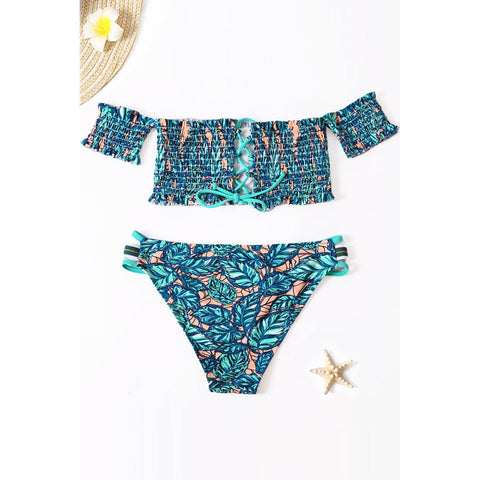 Women Bikini Floral Printed Off Shoulder Two Piece Swimsuit
