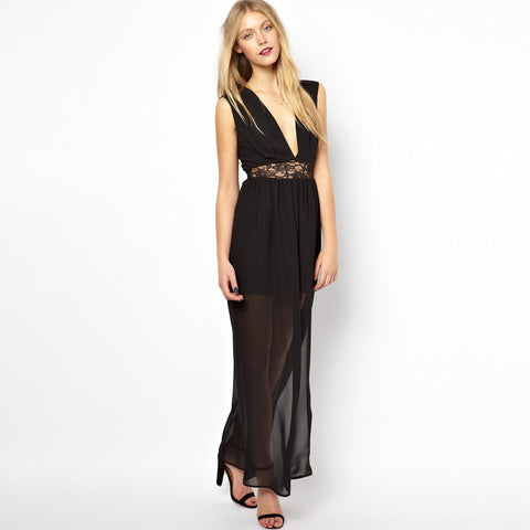 V Neck Sleeveless Chiffon Perspective Long Party Dress