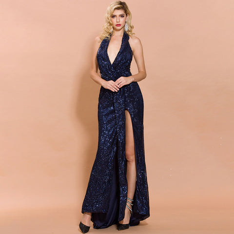 sd-hk Women's V Neck Sequined Navy Prom Banquet Party Maxi Dress