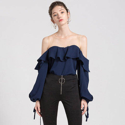 Women Sexy Sheer O-Neck Puff Sleeve Party Wear Tops