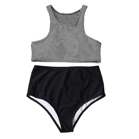 Women Bikini High Waist Stripe Two Piece Swimsuit - S&D