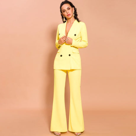 Women Elegant Yellow Two Piece Suits