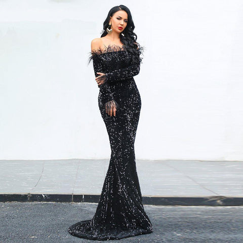 900ae3988 Women Sexy Off Shoulder Sequin Maxi Dresses Party-wear Dress