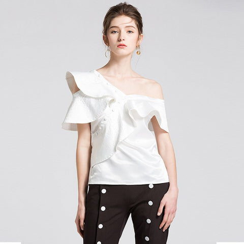 Lady Shirt Off Shoulder Slim Party Wear Tops