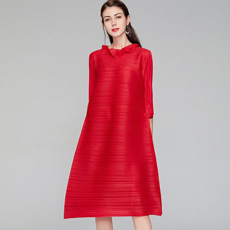 S&D co. Red Midi Pleated Dress For Women
