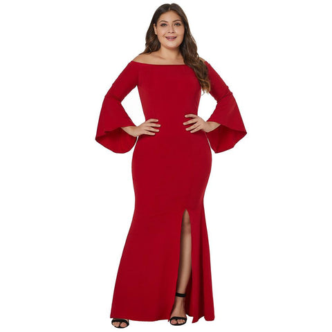 Women Sexy Party Gowns Long Sleeve Chic Black Off Shoulder Plus Size Dress - S&D