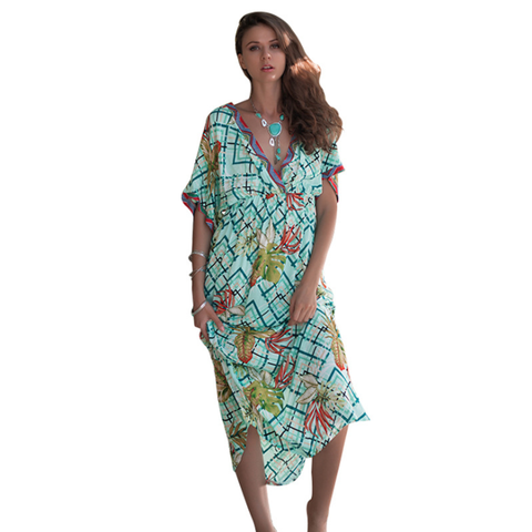 Women Dress V Neck Batwing Sleeve Beach Dress