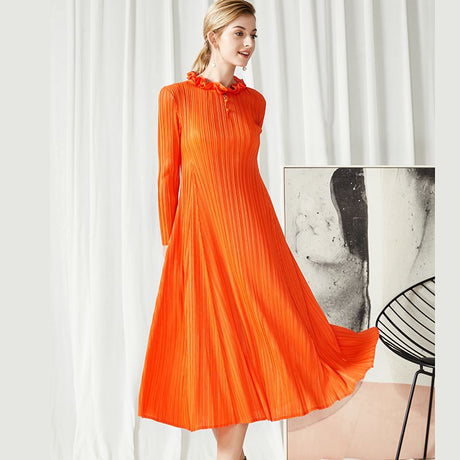 S&D co. Retro Pleated Dress Long Sleeve Slim Long Party Dress