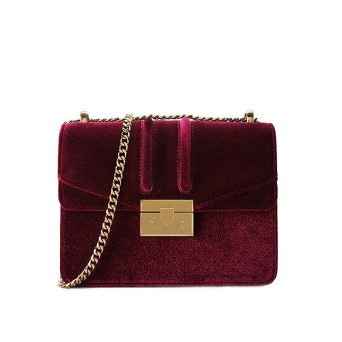 Women velvet small square bag shoulder bags