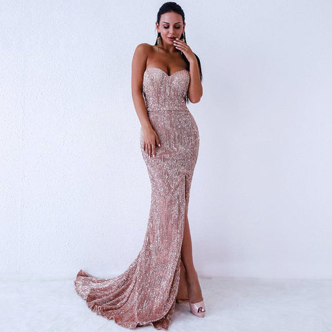 Women Sexy BRA Off Shoulder Sequin Dress Maxi Party Dress