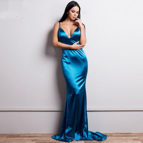 Women Sexy Backless Dresses Solid Color Floor-Length Dress