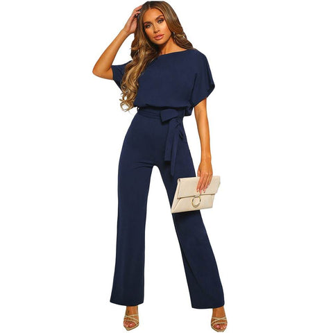 Women's High-waist pants pure-color with tie-up Jumpsuits