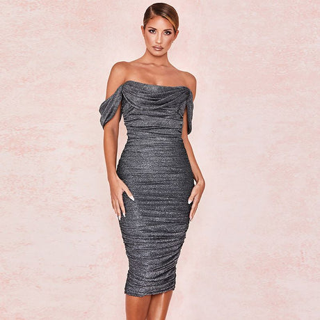 S&D co. Black Bodycon Midi Dress Off Shoulder Sexy Cocktail Dress