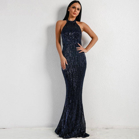 Women Sequin Maxi Elegant Party Bodycon Dress - S&D