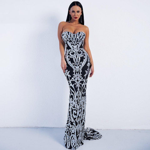 Women Sexy Bra Long Evening Dress Partywear Maxi Dress