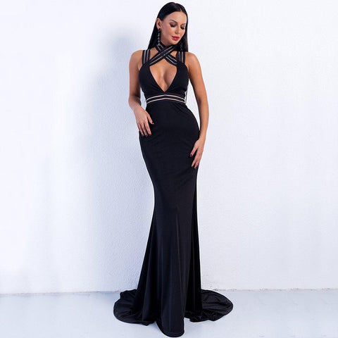 Women Sexy High Neck Maxi Dresses Long Evening Dresses