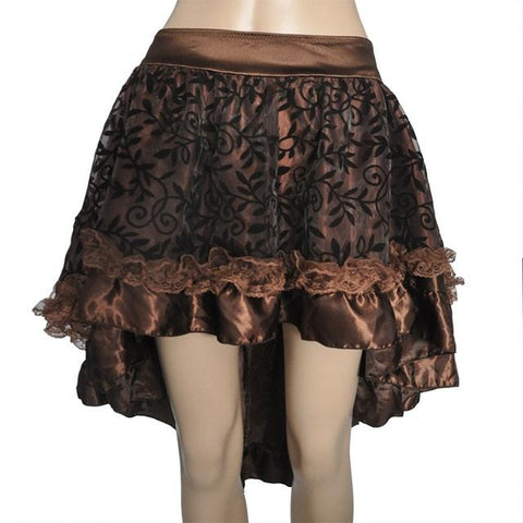 Womens Steampunk Skirt Victorian Asymmetrical High Low Dress - S&D