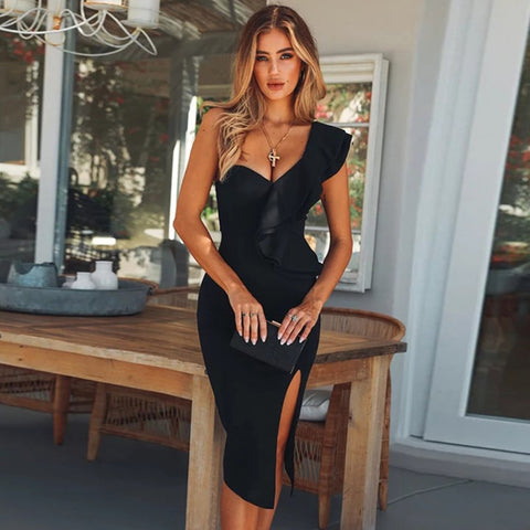 Women One Shoulder Black Cocktail Dress High Split