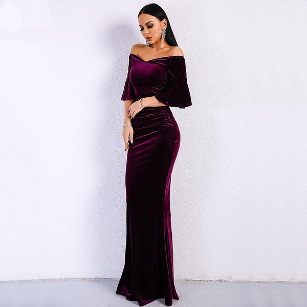 Women Sexy Off Shoulder Velvet Elegant Maxi Party Dress