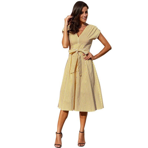 Women Striped A-line V Neck Sleeveless Button Down with Sashes Dress